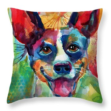 Whimsical Rat Terrier Dog Painting Throw Pillow