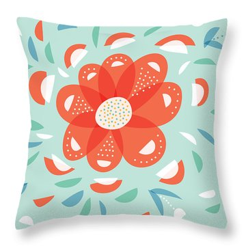 Whimsical Red Flower Throw Pillow