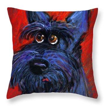 whimsical Schnauzer dog painting Throw Pillow