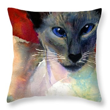 Whimsical Siamese Cat Painting Throw Pillow