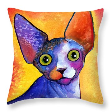 Whimsical Sphynx Cat Painting Throw Pillow