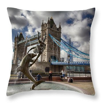 Whimsy At Tower Bridge Throw Pillow
