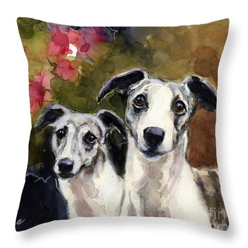Whippets Throw Pillow by Molly Poole