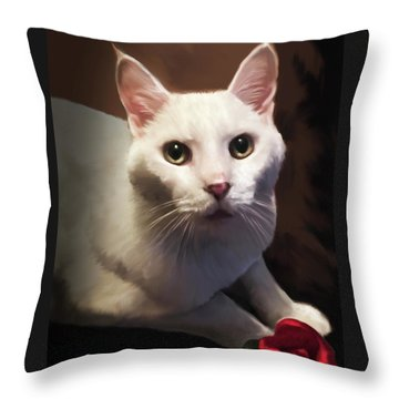 Whiskers And Rose Throw Pillow