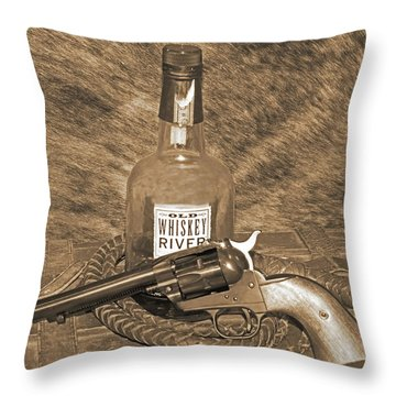 Whiskey And A Gun Throw Pillow