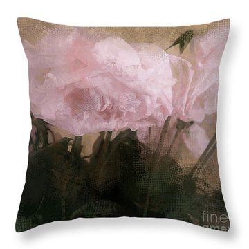 Throw Pillow featuring the digital art Whisper Of Pink Peonies by Alexis Rotella