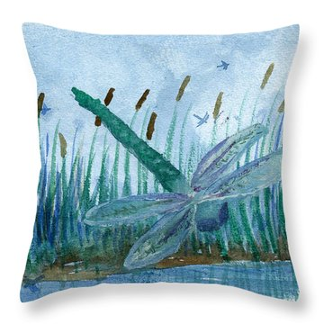 Whispering Cattails Throw Pillow