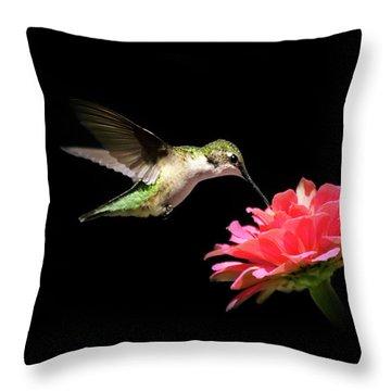 Whispering Hummingbird Throw Pillow by Christina Rollo