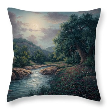 Throw Pillow featuring the painting Whispering Night by Kyle Wood