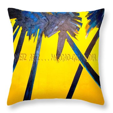 Throw Pillow featuring the painting Whispering Palms Of Goa by Piety Dsilva