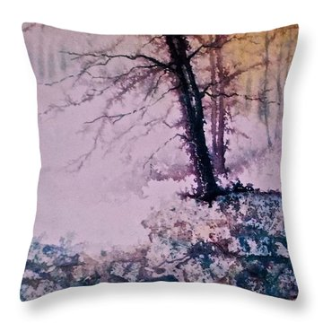 Throw Pillow featuring the painting Whispers In The Fog  Partii by Carolyn Rosenberger
