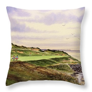 Whistling Straits Golf Course Hole 7 Throw Pillow by Bill Holkham