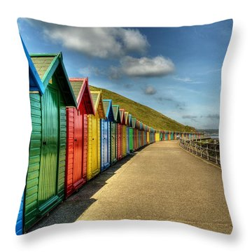 Whitby Beach Huts Throw Pillow