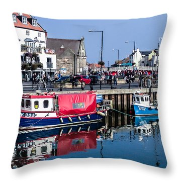 Whitby Harbor, United Kingdom Throw Pillow