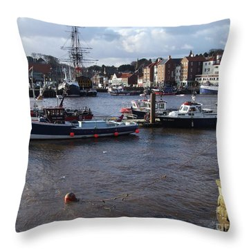 Whitby Harbour - North Yorkshire Throw Pillow