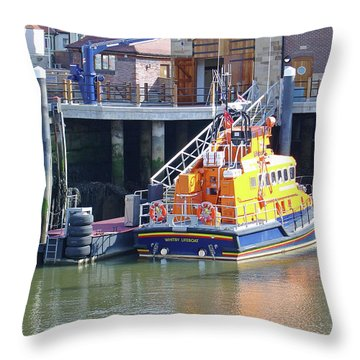 Whitby Lifeboat Throw Pillow by Rod Johnson