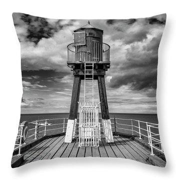 Whitby Pier Throw Pillow by Gillian Dernie
