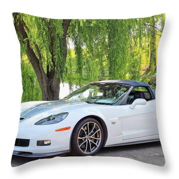 White 60th Anniversary 2013 Corvette 427 Convertible  Throw Pillow