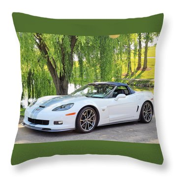 White 60th Anniversary 2013 Corvette 427 Convertible  Throw Pillow