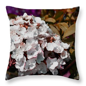 Throw Pillow featuring the painting White Abstract Flower B2516 by Mas Art Studio