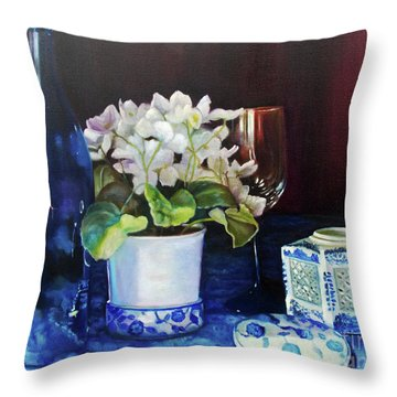 Throw Pillow featuring the painting White African Violets by Marlene Book