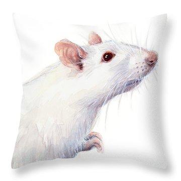 White Albino Rat Watercolor Throw Pillow