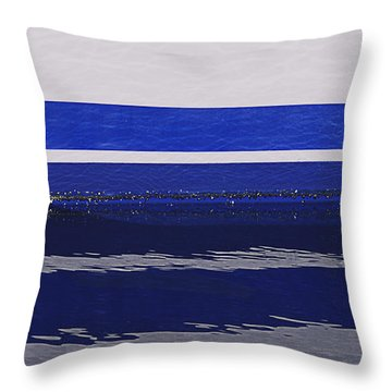 White And Blue Boat Symmetry Throw Pillow