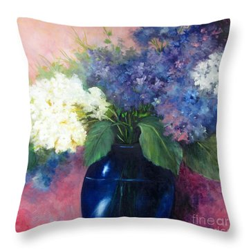 White And Blue Hydrangeas Throw Pillow