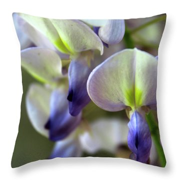 Wisteria White And Purple Throw Pillow