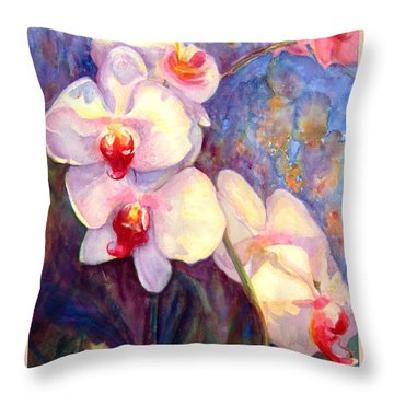 White And Fuchsia Orchids Throw Pillow by Estela Robles