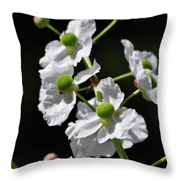 White And Green Wildflowers Throw Pillow