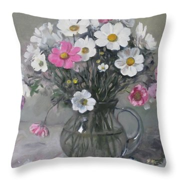 White And Pink Cosmos Bouquet In Water Pitcher No. 2 Throw Pillow