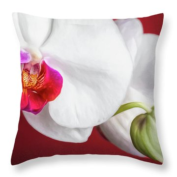 White And Red Orchids Throw Pillow