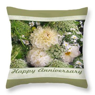 White Anniversary Bouquet Throw Pillow by Geraldine Alexander