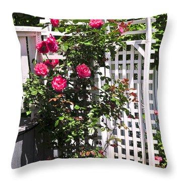 White Arbor In A Garden Throw Pillow