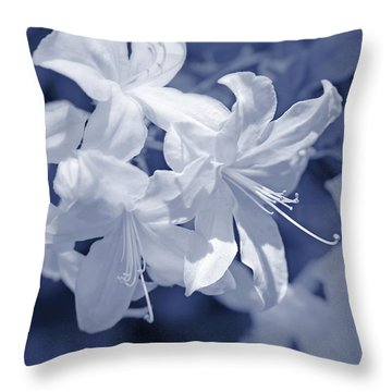 Throw Pillow featuring the photograph White Azalea Flowers Blues by Jennie Marie Schell
