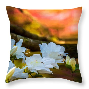 White Azaleas In The Garden Throw Pillow