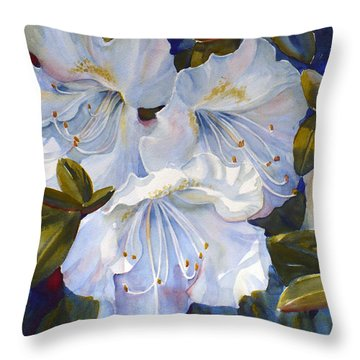 White Azaleas Throw Pillow