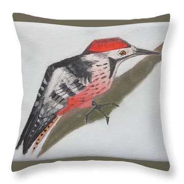 White-backed Woodpecker Throw Pillow