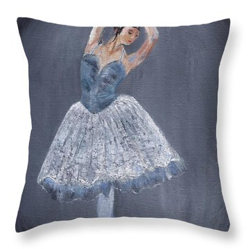 Throw Pillow featuring the painting White Ballerina by Jamie Frier