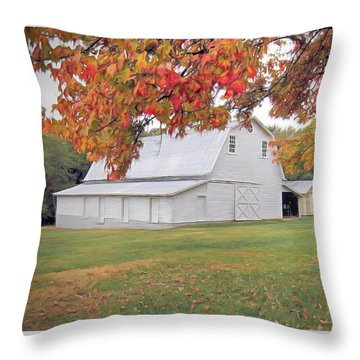 White Barn In Autumn Throw Pillow by Marion Johnson