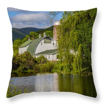 Throw Pillow featuring the photograph White Barn Reflection In Pond by Paula Porterfield-Izzo