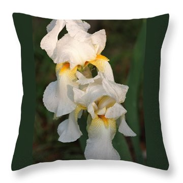 Throw Pillow featuring the photograph Two White Bearded Iris At Dusk by Sheila Brown