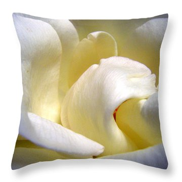 White Beauty Rose Throw Pillow