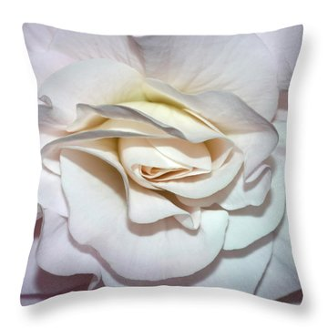 White Begonia Throw Pillow