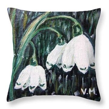 White Bells Throw Pillow by Vesna Martinjak
