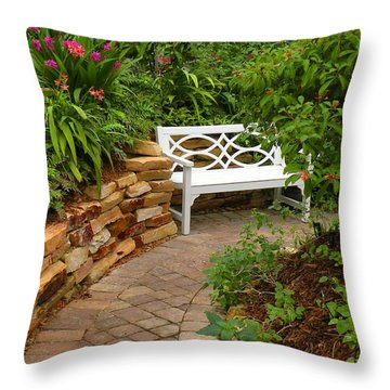 Throw Pillow featuring the photograph White Bench In The Garden by Rosalie Scanlon