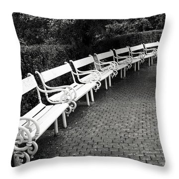 White Benches-  By Linda Wood Woods Throw Pillow