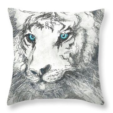 Throw Pillow featuring the drawing White Bengal Tiger by Denise Fulmer