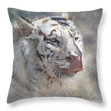 White Bengal Tiger Throw Pillow
